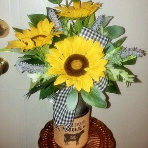 New Farmhouse sunflower Floral in Cow milk tin can